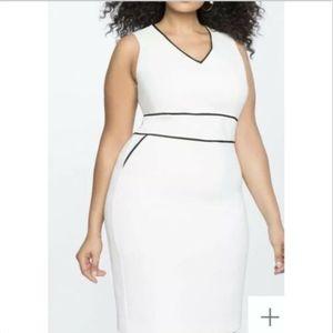 Eloquii Classic Sheath Dress White Black Size 20